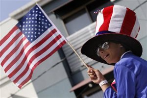 A particapant wears an Uncle Sam hat during Santa Monica's …