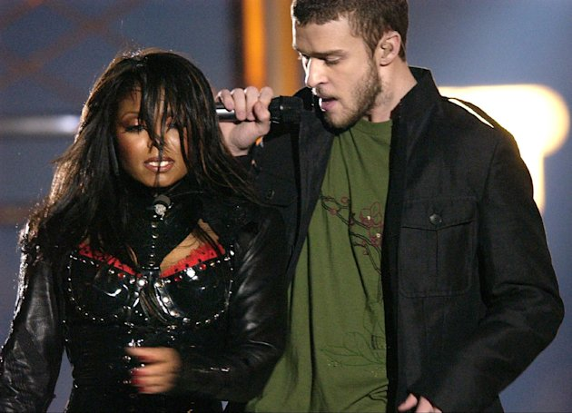 "FILE - In this Feb. 1, 2004 file photo, singers Justin Timberlake and Janet Jackson are seen during their performance prior to a wardrobe malfunction during the half time performance at Super Bowl XXXVIII in Houston. The Supreme Court decided Friday not to consider reinstating the government's $550,000 fine on CBS for Janet Jackson's infamous breast-bearing ""wardrobe malfunction"" at the 2004 Super Bowl. (AP Photo/David Phillip, file)"