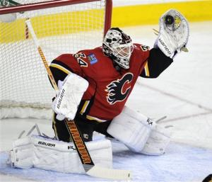Kiprusoff shuts down Ducks in Flames' home finale