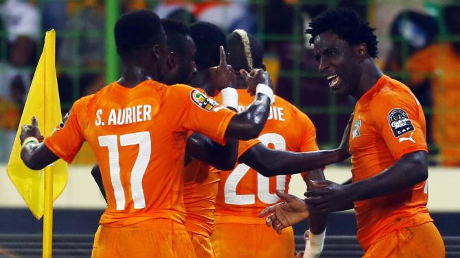 Ivory Coast's Wilfried Bony celebrates his goal during their quarter-final soccer match of the 2015 African Cup of Nations against  Algeria in Malabo