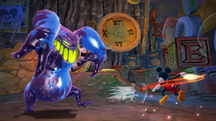 "This undated publicity photo provided by Disney shows Mickey Mouse using a paintbrush to fight a monster in ""Epic Mickey 2: The Power of Two"" (Disney, for the Xbox 360, PlayStation 3, $59.99; Wii U, $54.99; Wii, $49.99).  (AP Photo/Disney)"