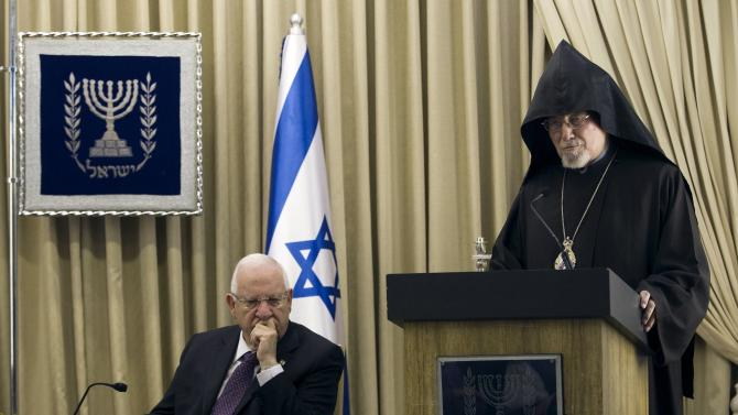 Israel's President Rivlin listens to Archbishop Shirvanian in Jerusalem