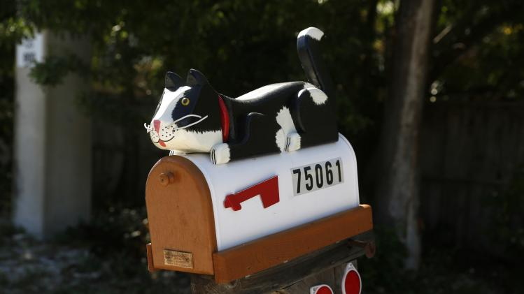 A mailbox decorated with a model cat is seen along the highway US-1 near Islamorada in Florida