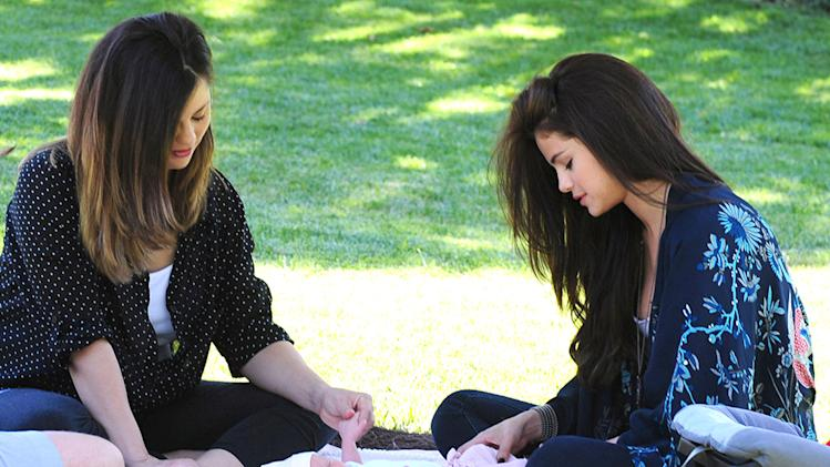 Selena Gomez Gets A Visit From Her New Baby Sister During Her Lunch Break
