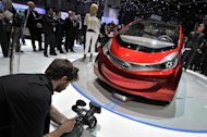 The Tata Megapixel is unveilled at the Indian car maker's booth on March 6, 2012