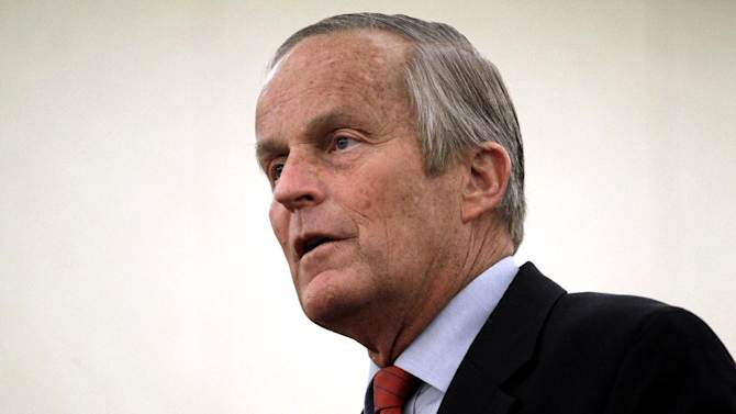 Missouri Republican Senate candidate, Rep. Todd Akin, R-Mo., speaks during a news conference at the start of a statewide bus tour, Tuesday, Sept. 25, 2012, in St. Louis. Akin is hoping that donors displeased by his much-criticized remarks about rape will reopen their checkbooks. (AP Photo/Jeff Roberson)