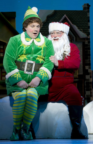"This undated publicity photo provided by The Hartman Group shows Wayne Knight, right, as Santa and Jordan Gelber as Buddy, in a scene from ""Elf"" at the Al Hirschfeld Theatre in New York. (AP Photo/The Hartman Group, Joan Marcus)"
