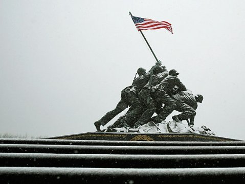 The icy steps at the U.S. Marine Corps War Memorial is seen during blizzard conditions in Arlington, Virginia during a snow storm in the Washington me...