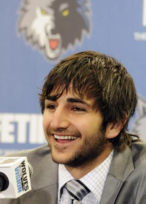 Ricky Rubio of Spain, the Minnesota Timberwolves 2009 first round draft pick, meets the media during an introductory basketball news conference, Tuesday, June 21, 2011 in Minneapolis. Rubio signed to a multi-year contract with the NBA basketball team. (AP Photo/Jim Mone)
