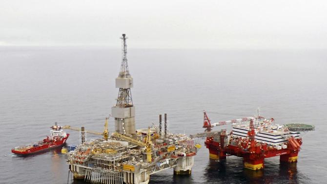 "This is an undated image released by Statoil of the Statoil  hotel rig Flotel Superior, right,  and the Njord A-platform in the  Norwgian Sea. Statoil on Wednesday Nov. 7, 2012 evacuated 326 oil rig workers from a North Sea platform after the structure began to tilt, the Norwegian oil company said. Company spokesman Ole Anders Skauby said that most of the 374 people on the ""Floatel Superior"" were airlifted by helicopter after one of the floating pontoons started taking on water, causing the structure to list. (AP Photo/Statoil) NORWAY OUT"