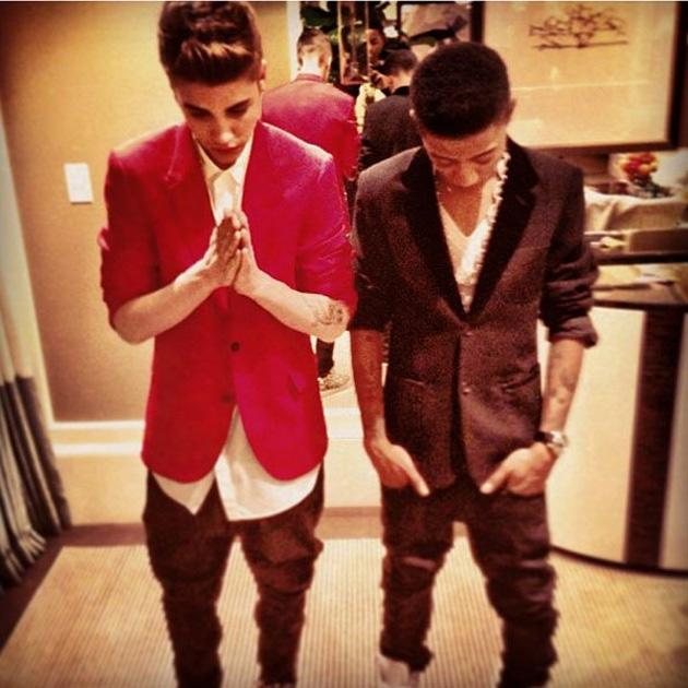 Celebrity Twitpics: Justin Bieber spent New Year's Eve with a friend – and before the pair partied the night away, he tweeted this photo of them. Copyright [Justin Bieber]