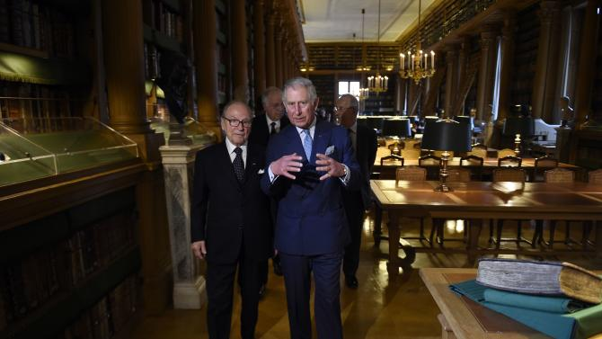 Britain's Prince Charles visits the French Academy's library after being awarded the Francois Rabelais prize at the French Institute in Paris