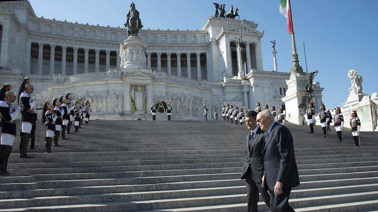 Italy's President Napolitano arrives to attend a Liberation Day ceremony at the Unknown Soldier's monument in central Rome