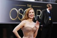 "Jessica Chastain, best actress nominee for her role in ""Zero Dark Thirty"", arrives at the 85th Academy Awards in Hollywood, California February 24, 2013. REUTERS/Lucas Jackson"