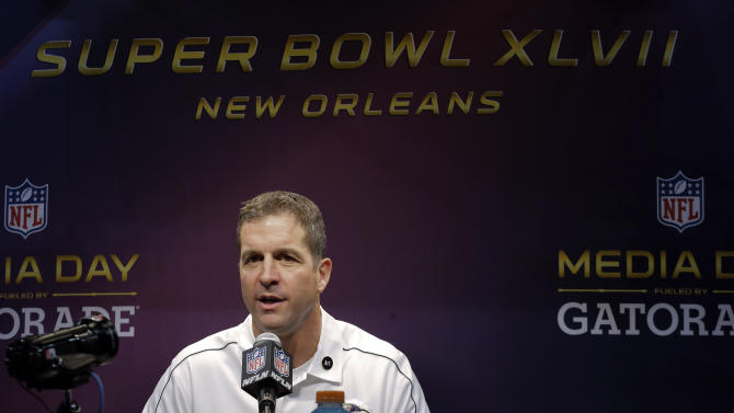 Baltimore Ravens head coach John Harbaugh speaks during media day for the NFL Super Bowl XLVII football game Tuesday, Jan. 29, 2013, in New Orleans. (AP Photo/Charlie Riedel)