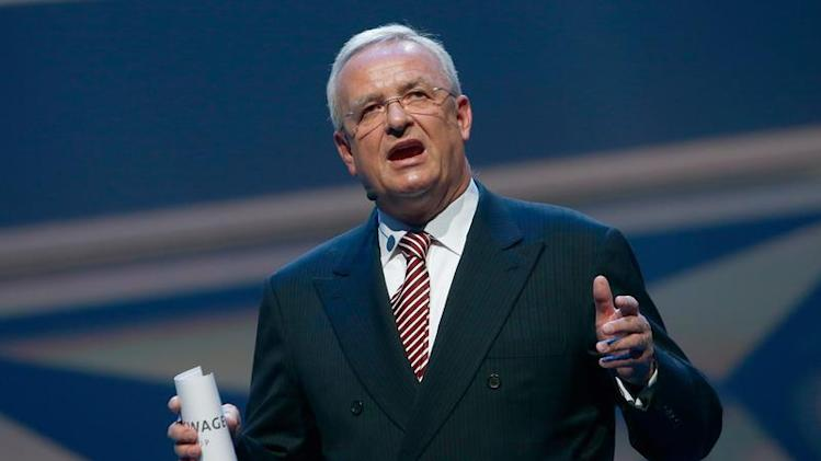 Volkswagen CEO, Martin Winterkorn speaks during the Volkswagen group night at the Frankfurt motor show