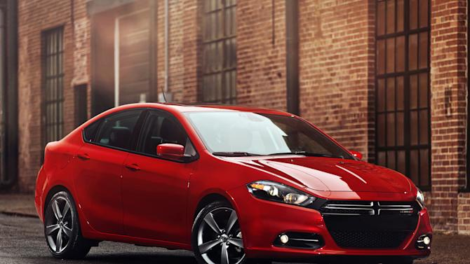 In this undated photo provided by Dodge Brand Media, the 2013 Dodge Dart is shown. The reinvented compact, which debuts at the Detroit auto show Monday, Jan. 9, 2012, is nothing like its predecessor from the 1960s and '70s. But Chrysler is counting on the Dart, and its zippy name, to help it sell more small cars and continue its recent revival. (AP Photo/Dodge Brand Media)
