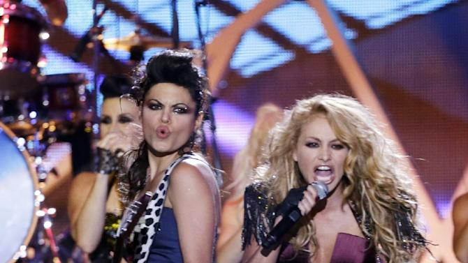 Singer Paulina Rubio performs at the Latin Billboard Awards in Coral Gables, Fla., Thursday April 25, 2013. (AP Photo/Alan Diaz)