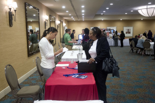 <p>               In this Friday, Nov. 30, 2012 photo, a person fills out an application at the Fort Lauderdale Career Fair, in Dania Beach, Fla. The U.S. economy added a solid 146,000 jobs in November and the unemployment rate fell to 7.7 percent, the lowest since December 2008, the Labor Department announced Friday, Dec. 7, 2012. The government said Superstorm Sandy had only a minimal effect on the figures. (AP Photo/J Pat Carter)