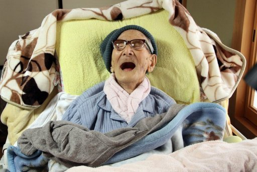 Jiroemon Kimura, pictured celebrating his 116th birthday on April 19, 2013, has died. He was the world's oldest living person and the oldest man ever. Kimura, who was born in 1897, died of natural causes