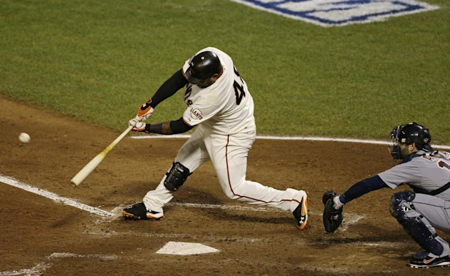 San Francisco Giants' Pablo Sandoval hits a home run during the fifth inning of Game 1 of baseball's World Series against the Detroit Tigers Wednesday, Oct. 24, 2012, in San Francisco. (AP Photo/Jeff