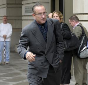 Former Major League baseball trainer Brian McNamee leaves federal court in Washington, Monday, May 21, 2012,  after testifying in the Roger Clemens perjury trial.  (AP Photo/Susan Walsh)
