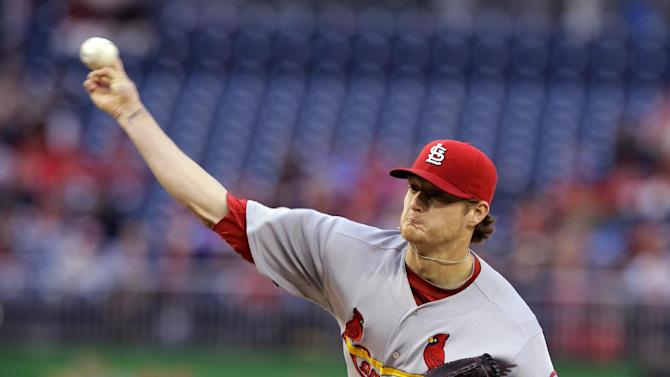 St. Louis Cardinals starting pitcher Shelby Miller (40) throws during the first inning of a baseball game against the Washington Nationals at Nationals Park, Monday, April 22, 2013, in Washington. (AP Photo/Alex Brandon)