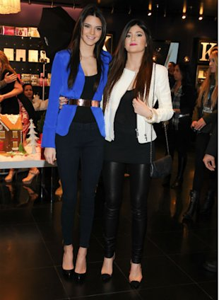 Kendall & Kylie Jenner Prove They're Mini Kim Kardashian's In Wet Look Leggings And Silk Jackets