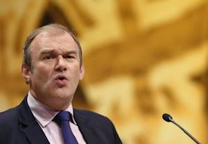 Britain's Secretary of State for Energy and Climate Change Davey speaks during the Liberal Democrats annual conference in Brighton