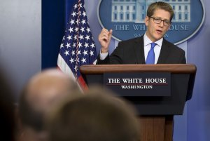 White House press secretary Jay Carney answers questions …