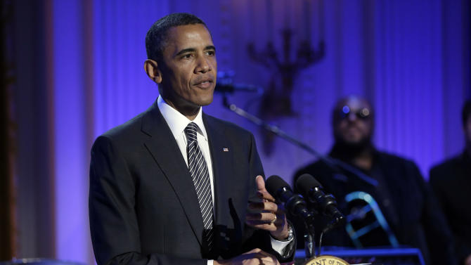 """President Barack Obama speaks during the """"In Performance at the White House"""" in the East Room of the White House in Washington, Tuesday, April 9,  2013, a program for a celebration of Memphis Soul Music. (AP Photo/Pablo Martinez Monsivais)"""