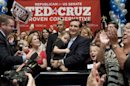 Holding his daughter Caroline, U.S. Senate candidate Ted Cruz and and his wife, Heidi, holding their daughter, Catherine, appear before a cheerful crowd after Cruz defeated Republican rival, Lt. Gov. David Dewhurst in a runoff election for the GOP nomination for the U.S. Senate seat vacated by Kay Bailey Hutchison Tuesday, July 31, 2012, in Houston. (AP Photo/Houston Chronicle, Johnny Hanson) MANDATORY CREDIT