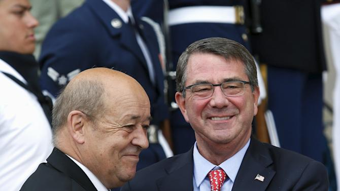 U.S. Defense Secretary Ash Carter welcomes French Defense Minister Jean-Yves Le Drian to the Pentagon in Washington