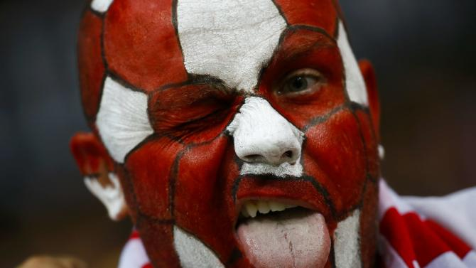 A Polish soccer fan cheers in the stands ahead of their Euro 2016 qualification match against Germany in Frankfurt