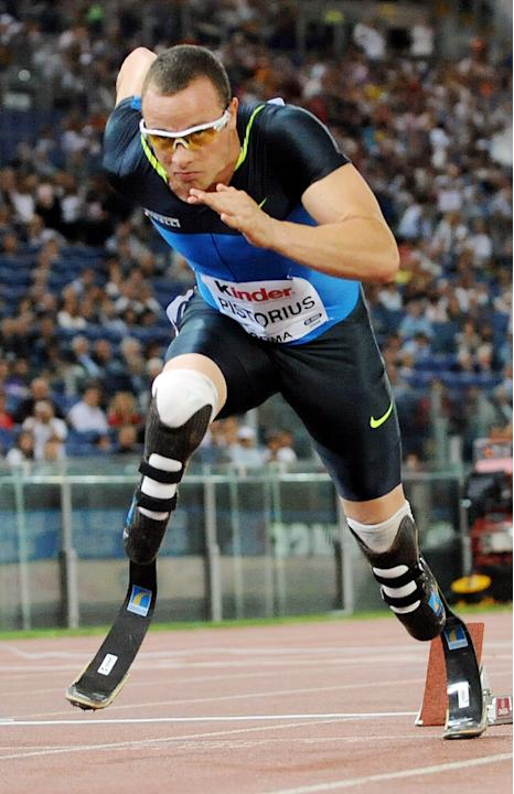 (FILES) Photo taken on July 11, 2008 of South African Oscar Pistorius competing in the men's 400m at the Athletics IAAF Golden Gala in Rome's Olympic Stadium. A dream came true for double-ampu