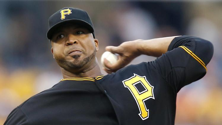 Pittsburgh Pirates starting pitcher Francisco Liriano throws against the Milwaukee Brewers in the first inning of a baseball game Saturday, June 29, 2013, in Pittsburgh. (AP Photo/Keith Srakocic)
