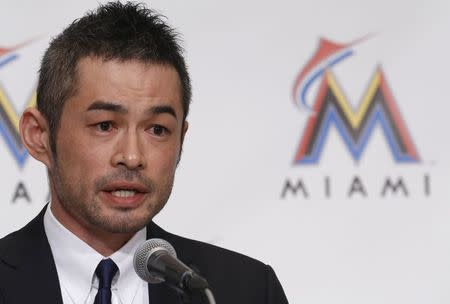 Japan's outfielder Ichiro Suzuki speaks during a news conference to announce an agreement on a one-year contract with the Miami Marlins, in Tokyo