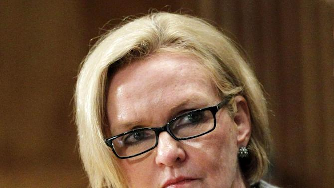FILE - In this Sept. 21, 2011 file photo, Sen. Claire McCaskill, D-Mo. listens on Capitol Hill in Washington. Republicans have long considered McCaskill one of their top targets in the Senate in 2012. They just didn't know who her opponent would be. GOP voters will decide among three contenders _ Sarah Palin-backed Sarah Steelman, businessman John Brunner, and Rep. Todd Akin, who was endorsed by former Arkansas Gov. Mike Huckabee _ in the marquee contest in Tuesday, Aug. 7, 2012, state primaries. No clear favorite has emerged in a primary race that will set up one of November's most anticipated Senate contests. (AP Photo Manuel Balce Ceneta, File)