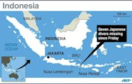Map locating Nusa Lembongan island near Bali where seven Japanese scuba divers went missing on Friday