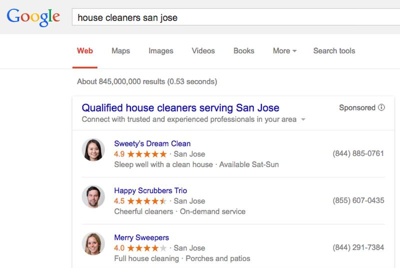 Google begins advertising home services in search results