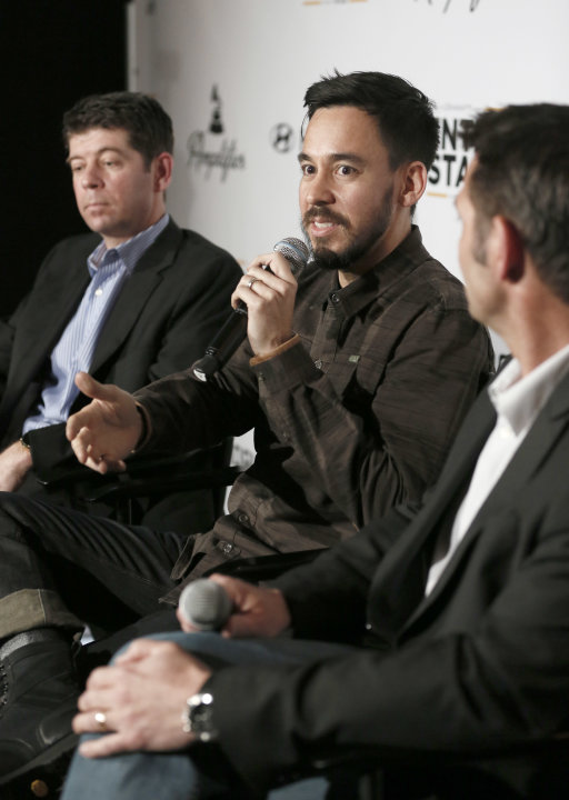 CMO of the Recording Academy Evan Greene, musician Mike Shinoda of Linkin Park and Senior Group Manager of New Media for Hyundai Jon Budd attend the 4th Annual Social Media Rock Stars Summit, on Frida