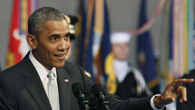 Obama delivers remarks at the armed services farewell in honor of Hagel in Virginia