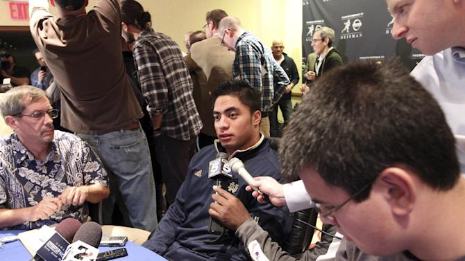 Notre Dame linebacker Manti Te'o, a Heisman Trophy finalist, speaks to reporters during a media availability, Friday, Dec. 7, 2012 in New York.  (AP Photo/Mary Altaffer)