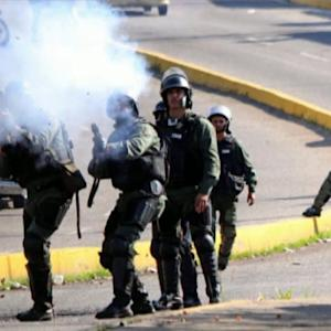 Venezuela National Guard Pepper Students With Tear Gas