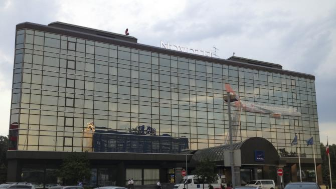 This photo taken on Wednesday, June 26, 2013 shows a view of the Novotel Hotel in Moscow's Sheremetyevo airport outside Moscow, Russia. The hotel has a wing that lies within the airport's transit zone. President Vladimir Putin has said that National Security Agency leaker Edward Snowden has stayed in the transit zone since his arrival in Moscow. (AP Photo/Alexander Zemlianichenko)