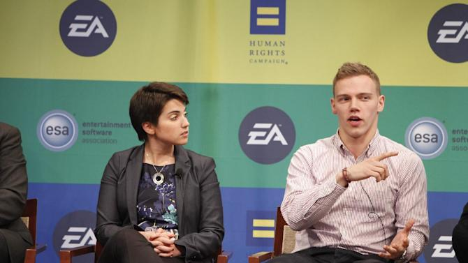 HRC Workplace Program Director Deena Fidas, and Campus Ambassador Coordinator for Out for Undergraduate Technology Conference (OUTC) Lucas Pattan speak at Electronic Arts'  LGBT Full Spectrum Event on Thursday, March, 7, 2013 in New York City, New York. (Photo by Amy Sussman/Invision for EA/AP Images)