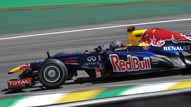 German Formula One driver Sebastian Vettel steers his car during the F-1 World Championship season-ending Brazilian Grand Prix at the Interlagos racetrack in Sao Paulo (AFP)