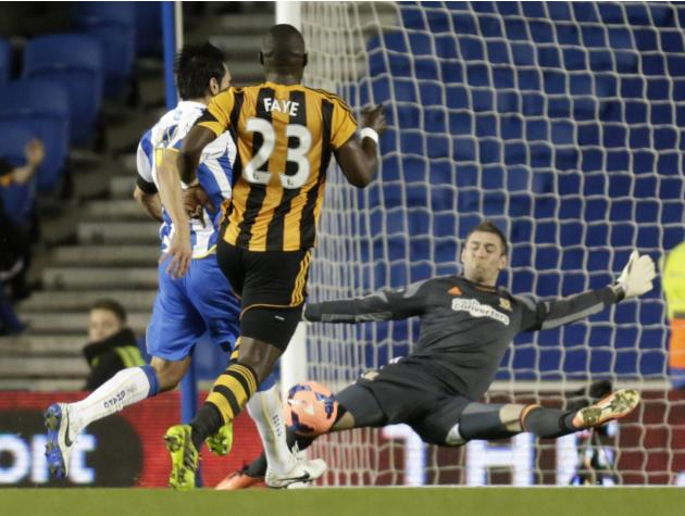 Brighton and Hove Albion's Ulloa shoots and scores his goal past Hull City goalkeeper McGregor during their English FA Cup soccer match in Brighton