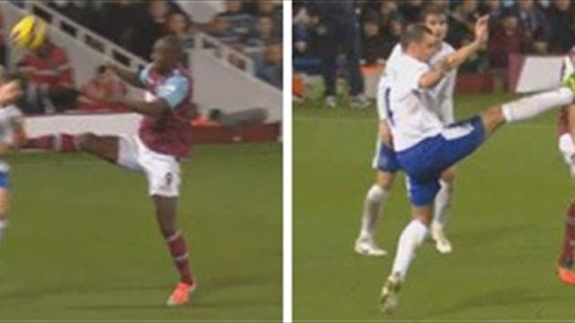 Red card challenges from Carlton Cole and Darron Gibson