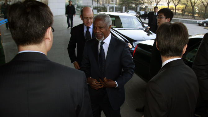 U.N.- Arab League envoy to Syria Kofi Annan arrives at the Chinese Ministry of Foreign Affairs for talks in Beijing, China, Tuesday, March 27, 2012. (AP Photo/Ng Han Guan)